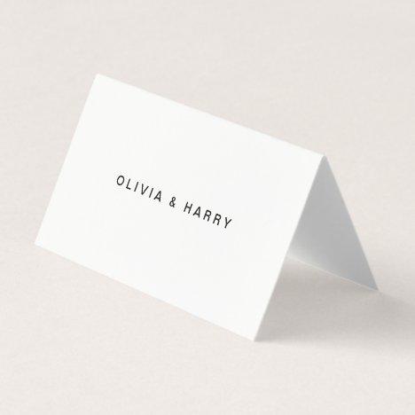 White Wedding Folded Place Cards