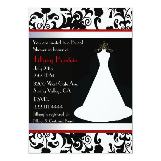 White Wedding Gown Bridal Shower Invitation