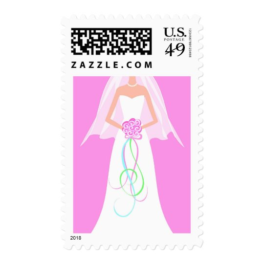 White Wedding Gown -  Bride with Bouquet Postage