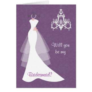White wedding gown chandelier on purple Bridesmaid Greeting Cards