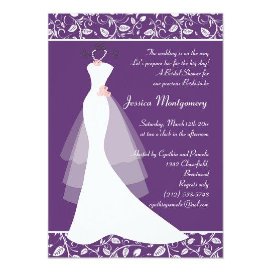 White wedding gown on purple Bridal Shower Invite