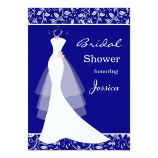 White wedding gown on royal blue  Bridal Shower Card