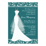 White wedding gown on teal Bridal Shower Invite