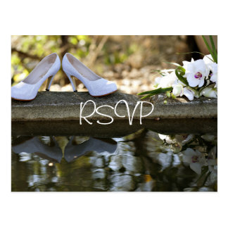 White Wedding Invitation RSVP with photo Postcard