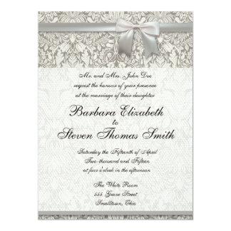 White Wedding invitation traditional template