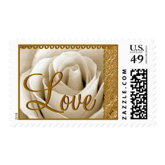 WHITE Wedding Monogram Rose with GOLD Lace Postage Stamps