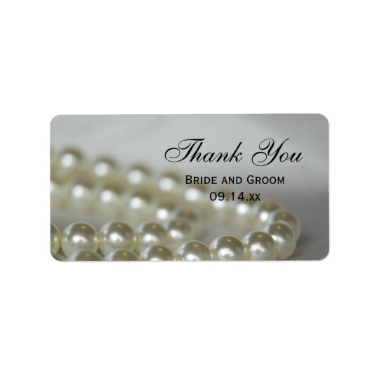 White Wedding Pearls Thank You Favor Tags