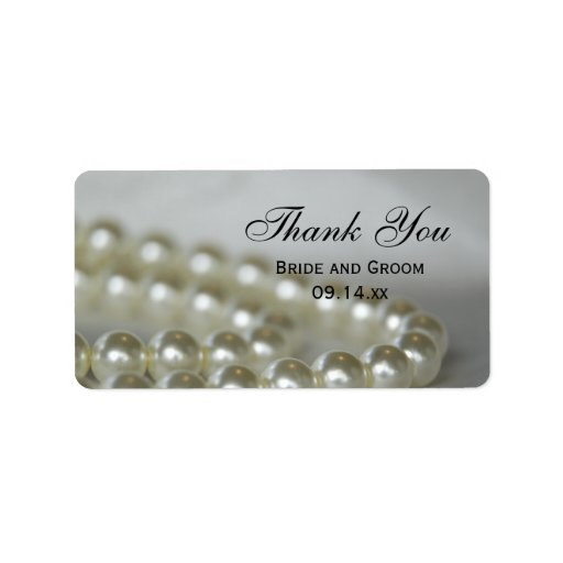 White Wedding Pearls Thank You Favor Tags Address Label