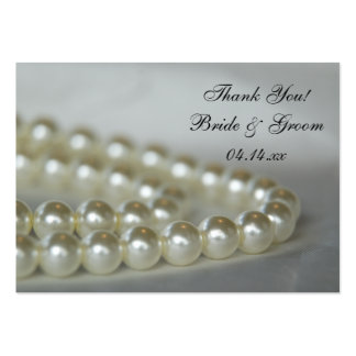 White Wedding Pearls Thank You Favor Tags Large Business Card