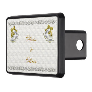 White Wedding Trailer Hitch Covers