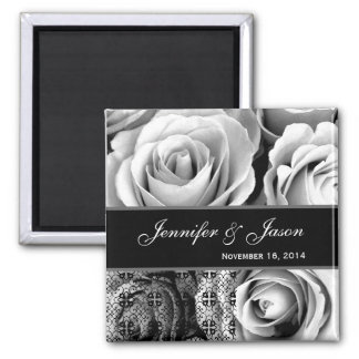 White Wedding Rose Bouquet with Lace 2 Inch Square Magnet