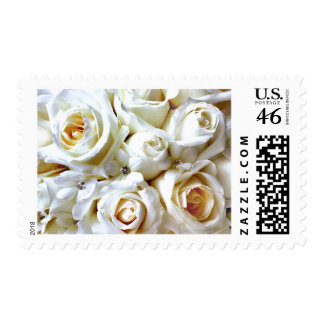 White Wedding Roses Bridal Bouquet Postage