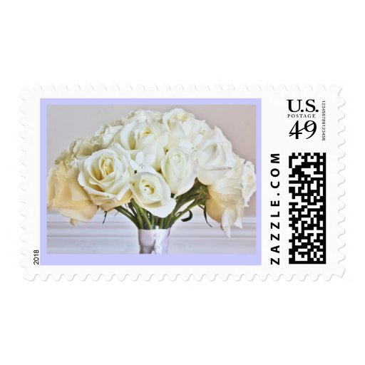 White Wedding Roses Bridal Bouquet Postage