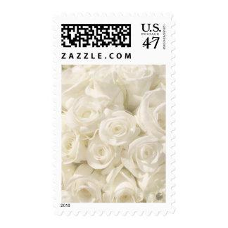 White Wedding Roses Postage Stamp