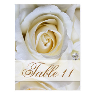 White Wedding Roses Reception Table Number Cards