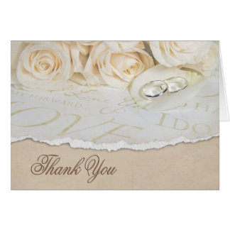 White wedding roses Thank You Stationery Note Card