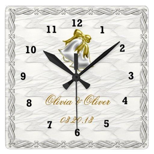 White Wedding Square Wall Clock