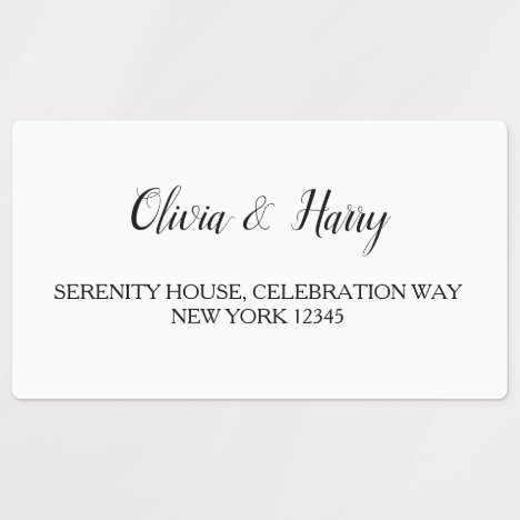 White Wedding Waterproof Return Address Labels