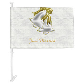 White Wedding Car Flag