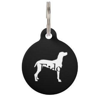 White Weimaraner Silhouettes on Black Background Pet Name Tag