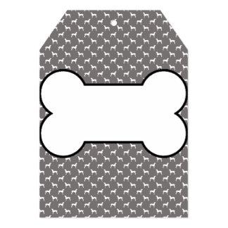White Weimaraner Silhouettes On Grey 5x7 Paper Invitation Card