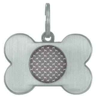White Weimaraner Silhouettes On Grey Pet ID Tag