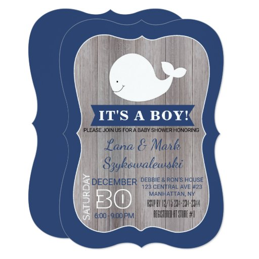 White Whale Ahoy Navy Blue Rustic Shower Invite