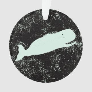 white whale circle ornament