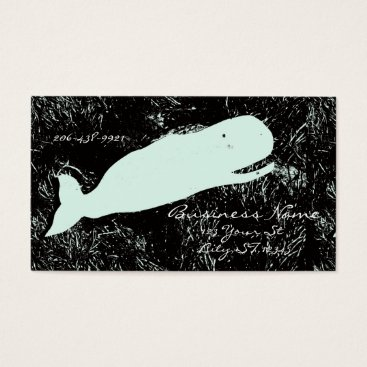 Beach Themed white whale laughing business card