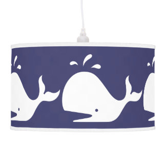 White WHALE on blue background Pendant Lamps
