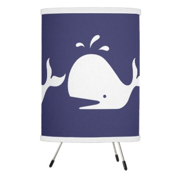 Beach Themed White WHALE on blue background Tripod Lamp