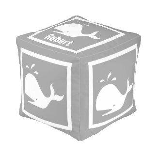 White WHALE on grey: personalize with name Cube Pouf