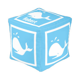White WHALE on light blue: personalize with name Pouf
