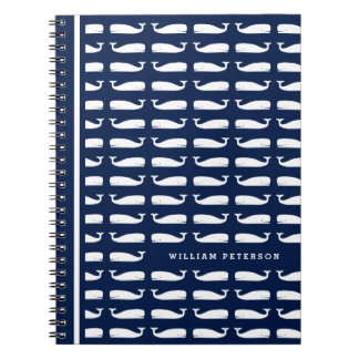 White Whale on Navy Blue Nautical Spiral Notebook