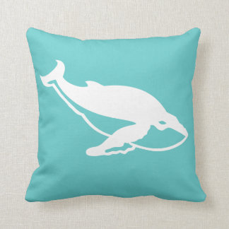 white whale  on teal blue pillow