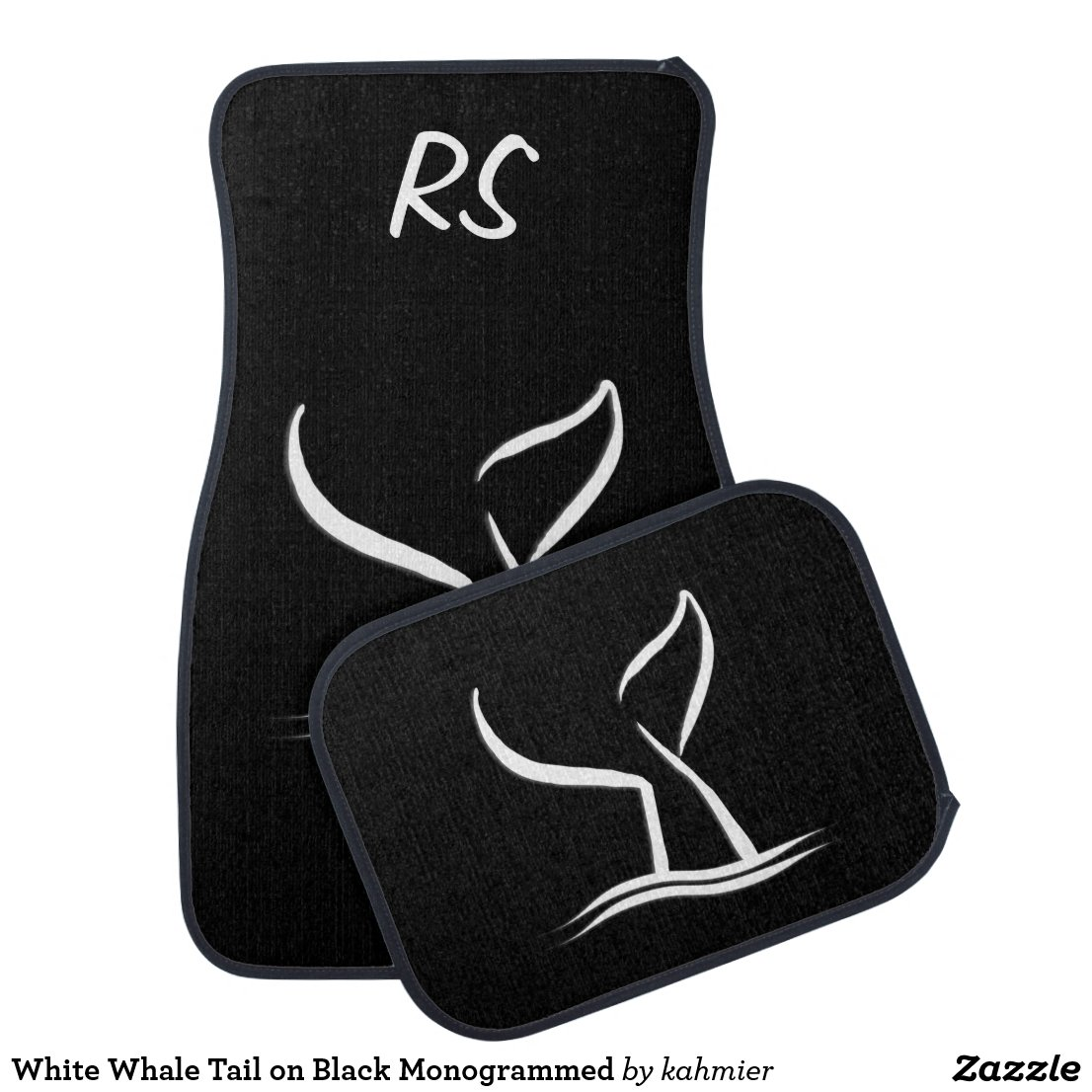 White Whale Tail on Black Monogrammed Car Mat