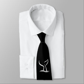 White Whale Tail on Black Neck Tie