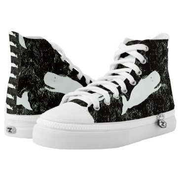 Beach Themed white whales black High-Top sneakers