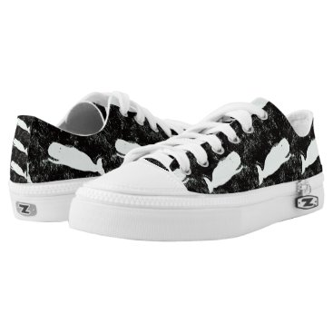 Beach Themed white whales black Low-Top sneakers