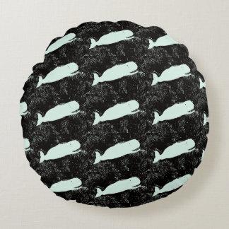 white whales on black throw pillow