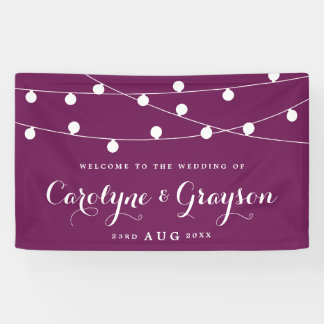 White Whimsical Fairy Lights Purple Wedding Banner
