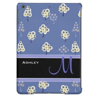White Whimsical Floral Tree - Custom Monogram Name iPad Air Covers
