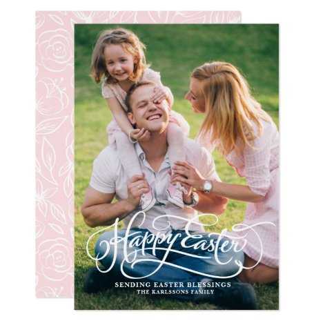 White Whimsical Script Happy Easter Photo Card