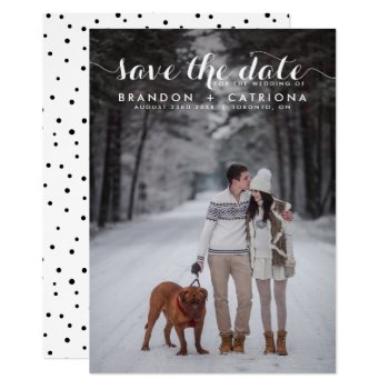 White Whimsical Script Photo Save The Date Card by misstallulah at Zazzle