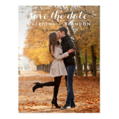 White Whimsical Script Save The Date Postcard at Zazzle