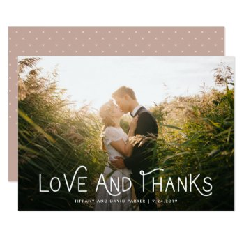 White Whimsical Typography | Thank You Photo Card by Customize_My_Wedding at Zazzle