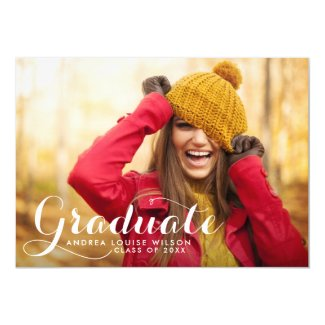 White Whimsicla Script Photo Graduation Party Card