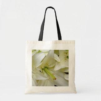 white White lilies flowers Budget Tote Bag