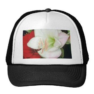 white White on red flowers Mesh Hat