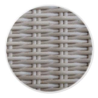 White Wicker Ceramic Knob